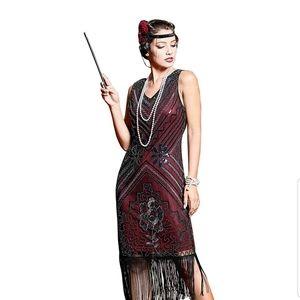 Women's 1920s Flapper Dresses V Neck Beaded Tassel